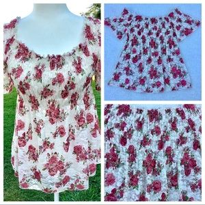 Blouse Floral Lace Print Flowey Fitted Bust-line